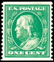 Cost of US Stamp Scott Cat. 387 - 1c 1910 Franklin Coil. Schuyler J. Rumsey Philatelic Auctions, Apr 2015, Sale 60, Lot 2361