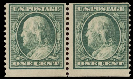 Price of US Stamps Scott Catalog # 387 - 1c 1910 Franklin Coil. Daniel Kelleher Auctions, May 2015, Sale 669, Lot 2944