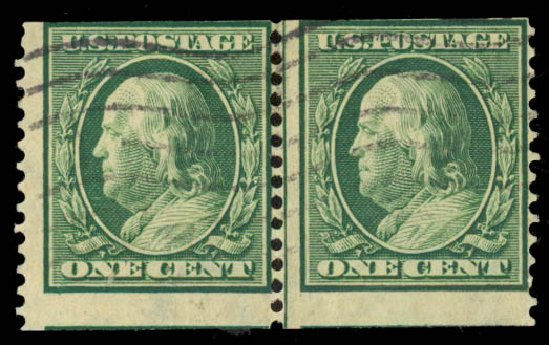 US Stamp Prices Scott Cat. #387: 1c 1910 Franklin Coil. Daniel Kelleher Auctions, May 2014, Sale 652, Lot 572