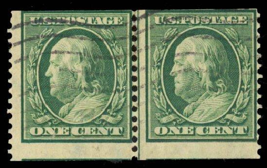 US Stamp Prices Scott Cat. #387: 1c 1910 Franklin Coil. Daniel Kelleher Auctions, May 2014, Sale 652, Lot 572