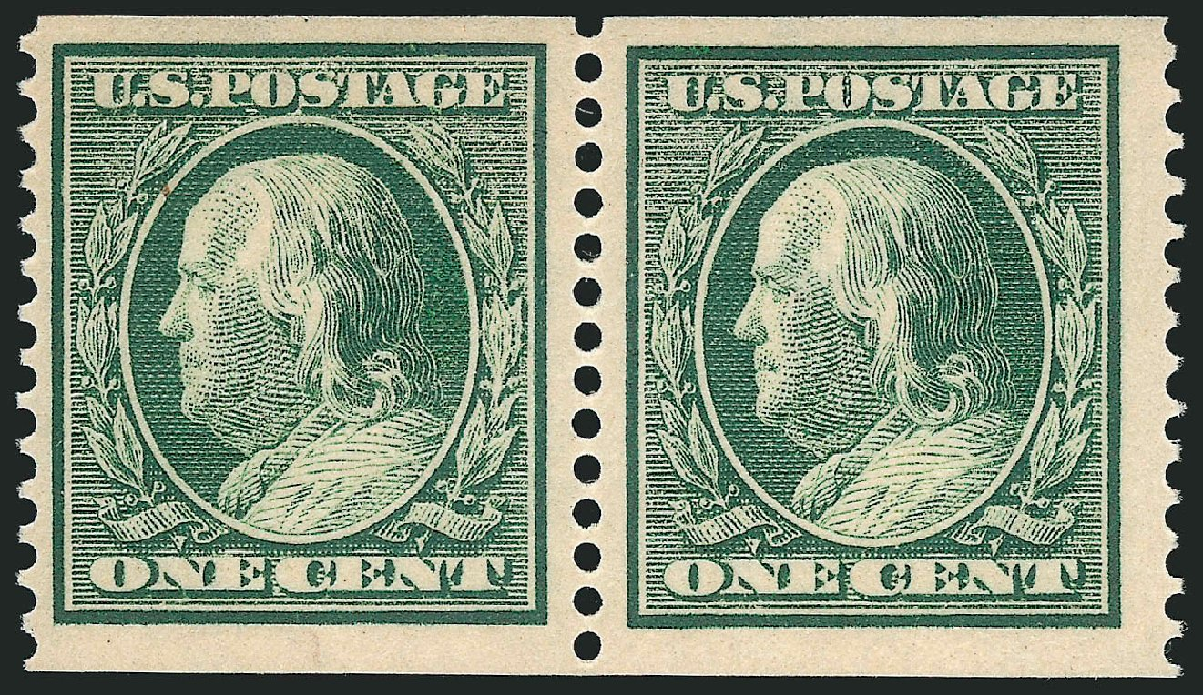 Values of US Stamps Scott 387 - 1910 1c Franklin Coil. Robert Siegel Auction Galleries, Dec 2014, Sale 1090, Lot 1486