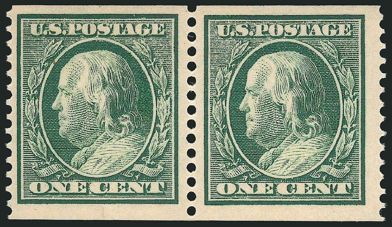 Values of US Stamps Scott 387 - 1910 1c Franklin Coil. Robert Siegel Auction Galleries, Dec 2014, Sale 1090, Lot 1486