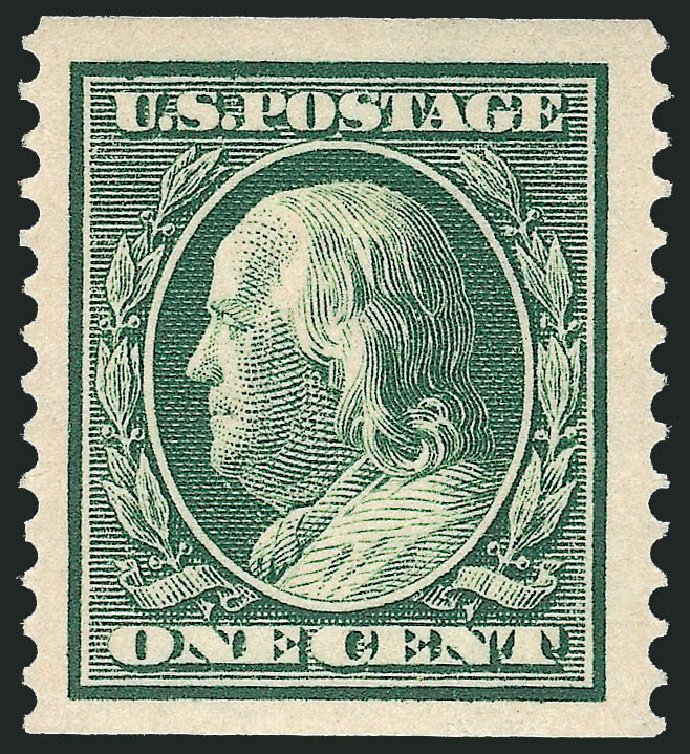 Value of US Stamps Scott Catalogue # 387 - 1c 1910 Franklin Coil. Robert Siegel Auction Galleries, Feb 2015, Sale 1093, Lot 206