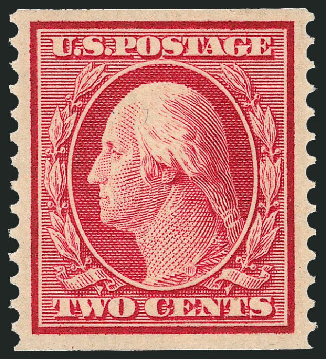 Values of US Stamps Scott Catalog # 388 - 2c 1910 Washington Coil. Robert Siegel Auction Galleries, Dec 2013, Sale 1062, Lot 569