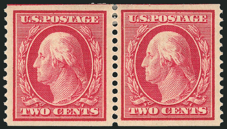 US Stamp Values Scott # 388: 1910 2c Washington Coil. Robert Siegel Auction Galleries, Jul 2014, Sale 1077, Lot 249