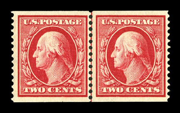 US Stamp Values Scott # 388 - 2c 1910 Washington Coil. Cherrystone Auctions, Jul 2015, Sale 201507, Lot 2141