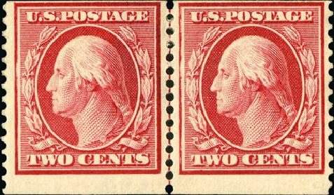 Values of US Stamps Scott Catalogue #388 - 1910 2c Washington Coil. Spink Shreves Galleries, Jan 2015, Sale 150, Lot 154