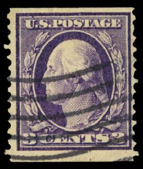 Prices of US Stamp Scott Catalog # 389 - 3c 1911 Washington Coil. Daniel Kelleher Auctions, Dec 2014, Sale 661, Lot 321
