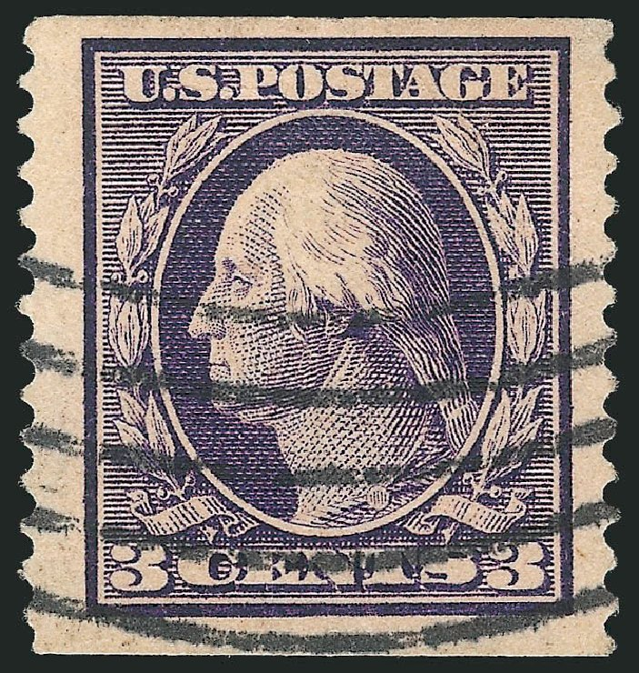 Prices of US Stamp Scott Catalogue 389: 1911 3c Washington Coil. Robert Siegel Auction Galleries, Feb 2015, Sale 1093, Lot 214