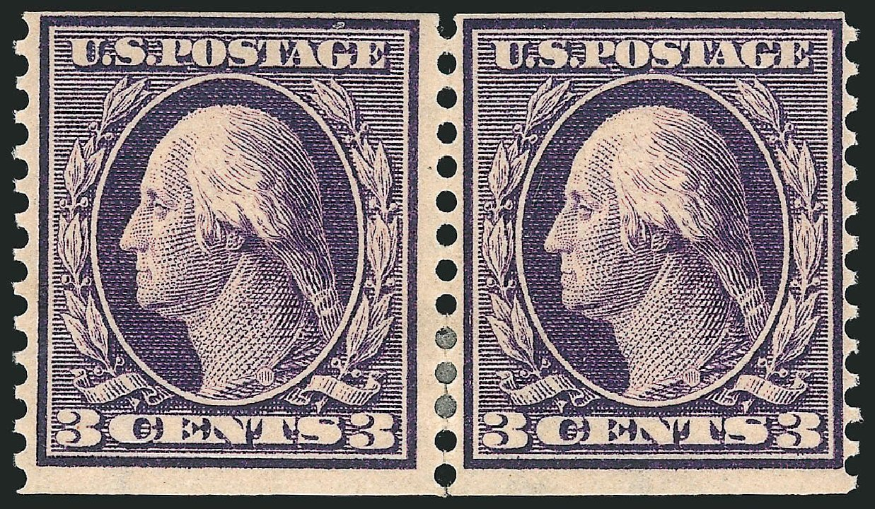 US Stamp Price Scott Catalog #389 - 1911 3c Washington Coil. Robert Siegel Auction Galleries, Apr 2015, Sale 1096, Lot 632