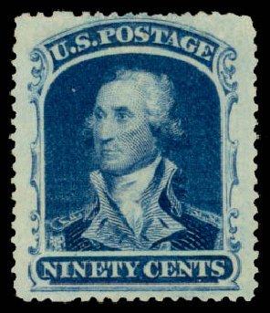 Values of US Stamp Scott Catalog # 39: 90c 1860 Washington. Daniel Kelleher Auctions, Aug 2015, Sale 672, Lot 2227
