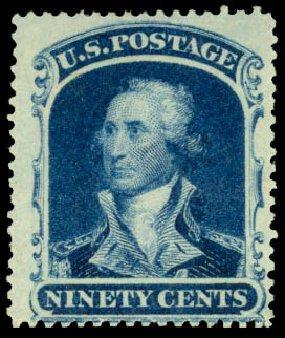 US Stamps Price Scott Catalog # 39 - 90c 1860 Washington. Daniel Kelleher Auctions, Aug 2015, Sale 672, Lot 2228