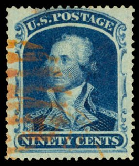 US Stamps Values Scott Catalog #39 - 90c 1860 Washington. Daniel Kelleher Auctions, Aug 2015, Sale 672, Lot 2231