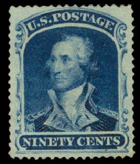 Prices of US Stamp Scott Catalog #39 - 1860 90c Washington. Daniel Kelleher Auctions, Aug 2015, Sale 672, Lot 2225