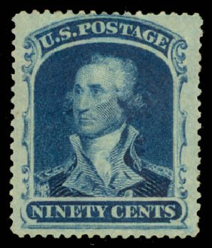 US Stamp Prices Scott #39 - 1860 90c Washington. Daniel Kelleher Auctions, Aug 2015, Sale 672, Lot 2226