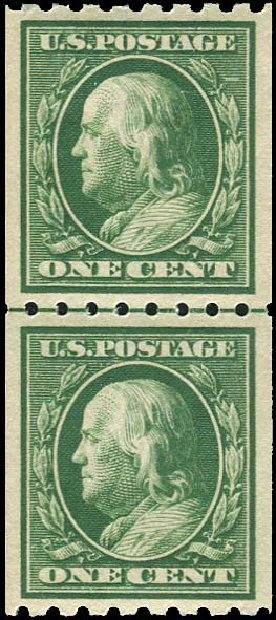 Costs of US Stamp Scott #390: 1c 1910 Franklin Coil. Regency-Superior, Aug 2015, Sale 112, Lot 777