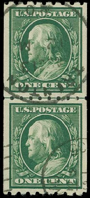US Stamps Values Scott Catalog 390: 1c 1910 Franklin Coil. H.R. Harmer, Jun 2015, Sale 3007, Lot 3319