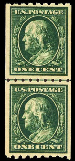 US Stamp Value Scott Catalog #390: 1c 1910 Franklin Coil. Daniel Kelleher Auctions, Dec 2012, Sale 633, Lot 669