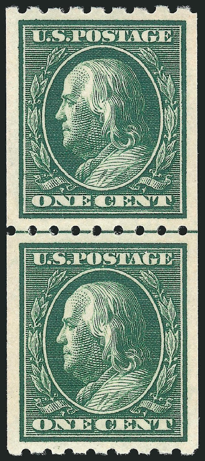 Price of US Stamp Scott Catalogue 390: 1910 1c Franklin Coil. Robert Siegel Auction Galleries, Nov 2012, Sale 1034, Lot 359