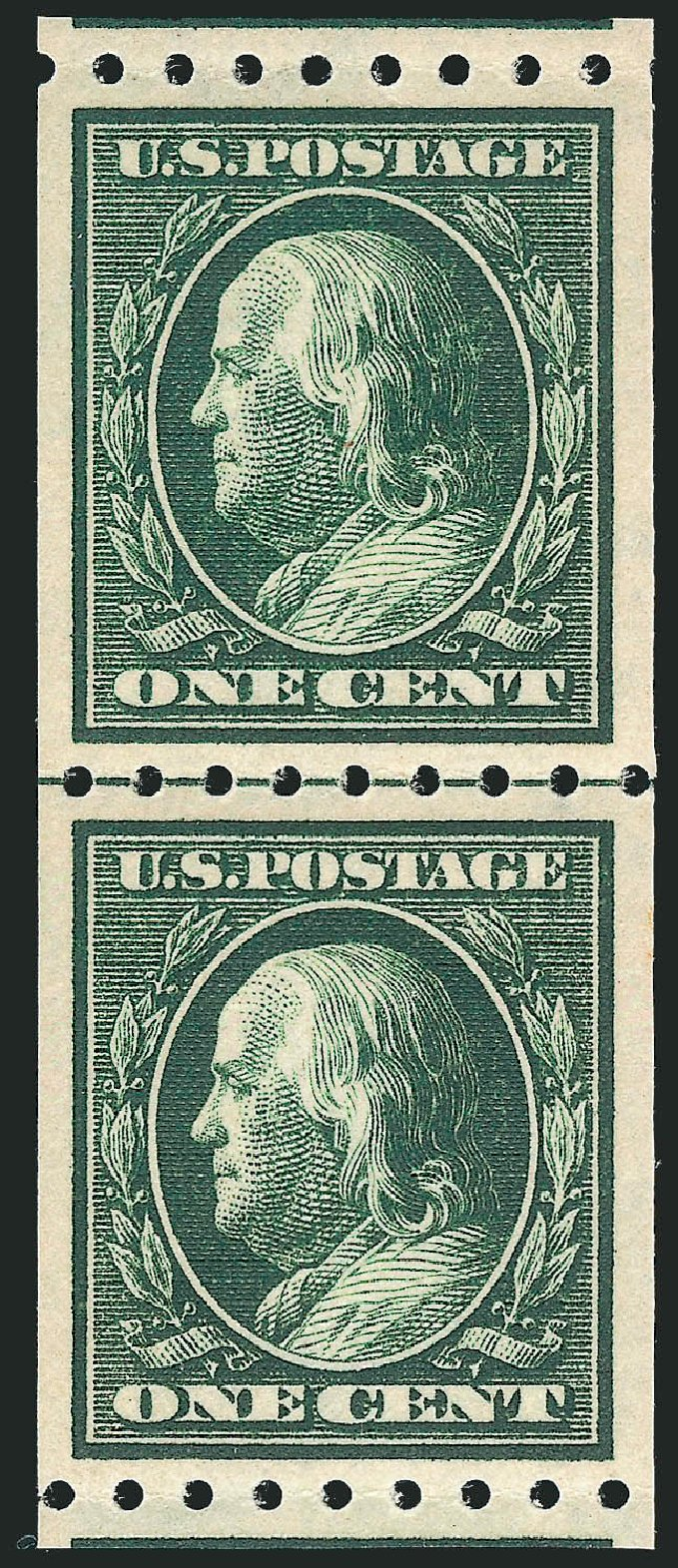 US Stamp Values Scott Catalog # 390: 1c 1910 Franklin Coil. Robert Siegel Auction Galleries, Nov 2013, Sale 1061, Lot 3879