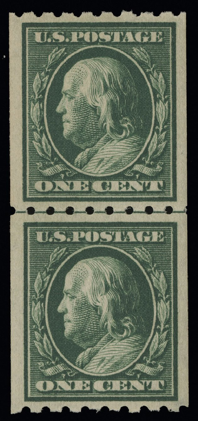 Costs of US Stamp Scott Cat. # 390 - 1c 1910 Franklin Coil. Spink Shreves Galleries, Aug 2013, Sale 144, Lot 224