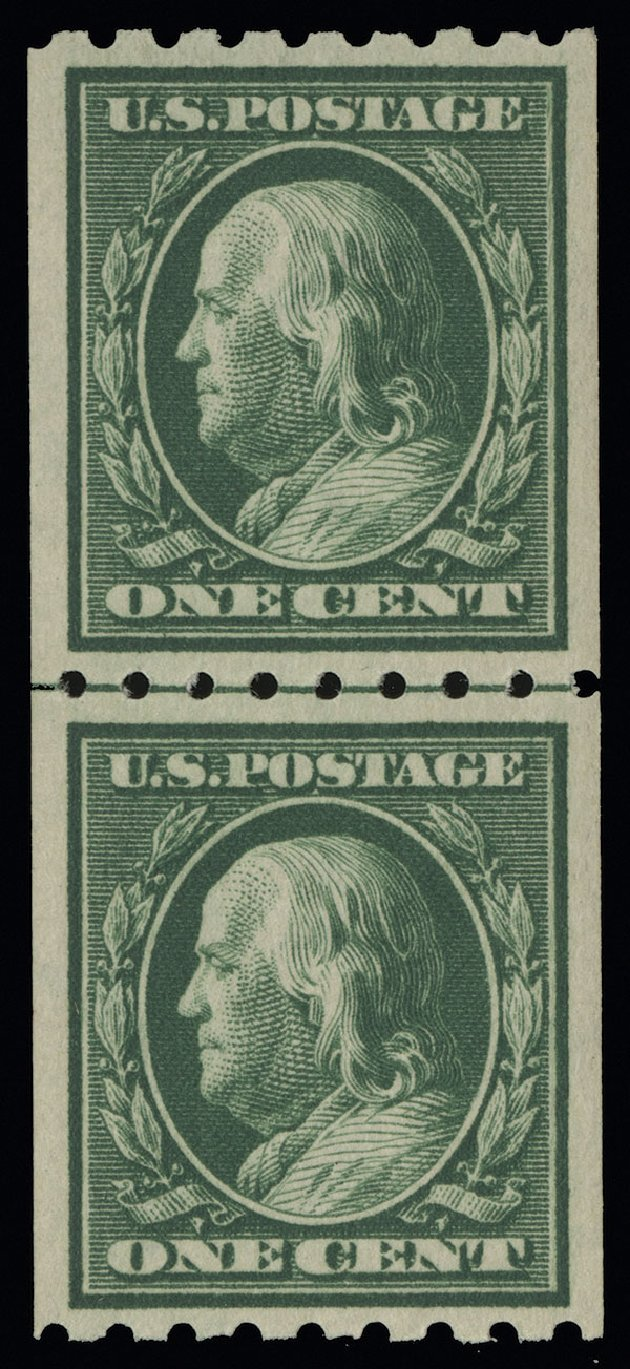 Value of US Stamps Scott Cat. #390 - 1910 1c Franklin Coil. Spink Shreves Galleries, Aug 2013, Sale 144, Lot 225