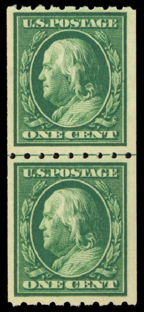 US Stamps Price Scott 390: 1c 1910 Franklin Coil. Daniel Kelleher Auctions, Dec 2014, Sale 661, Lot 322