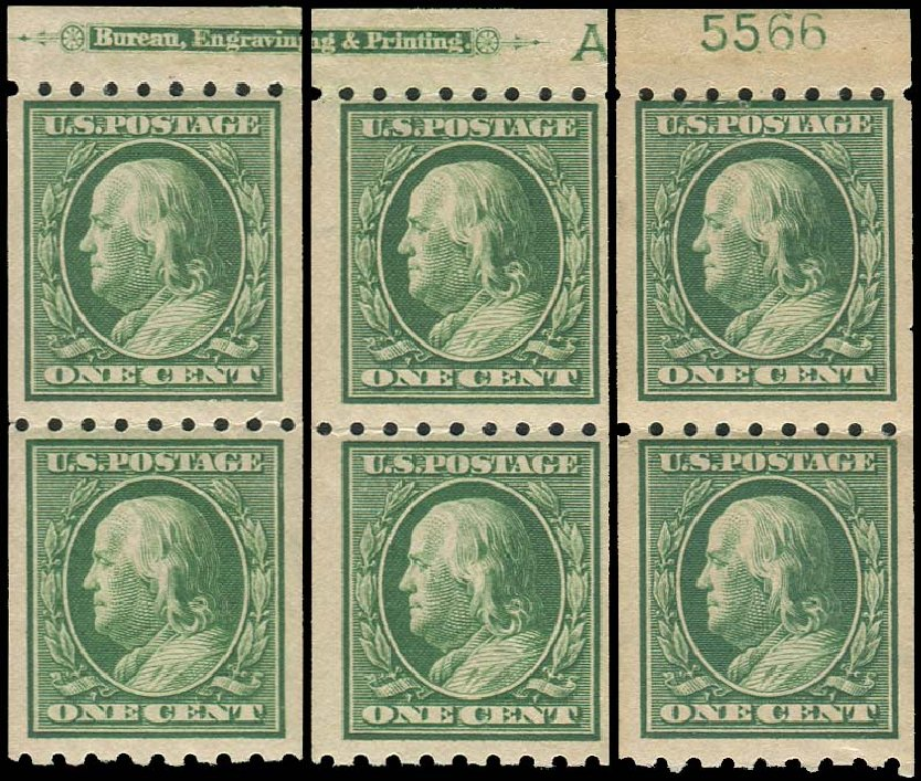 Value of US Stamps Scott Cat. #390 - 1910 1c Franklin Coil. Regency-Superior, Aug 2015, Sale 112, Lot 776