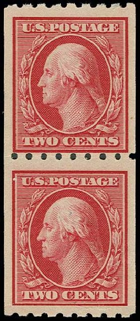 US Stamp Values Scott Catalogue # 391 - 1910 2c Washington Coil. H.R. Harmer, Jun 2013, Sale 3003, Lot 1277