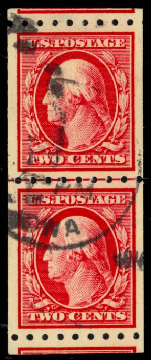 US Stamps Prices Scott #391 - 2c 1910 Washington Coil. Daniel Kelleher Auctions, May 2014, Sale 652, Lot 577