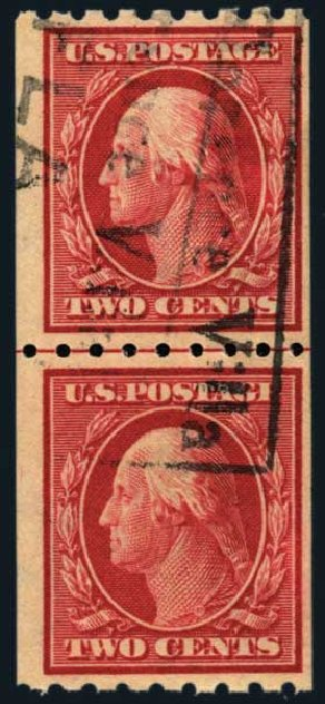 Value of US Stamps Scott Catalogue # 391: 2c 1910 Washington Coil. Harmer-Schau Auction Galleries, Nov 2014, Sale 103, Lot 129
