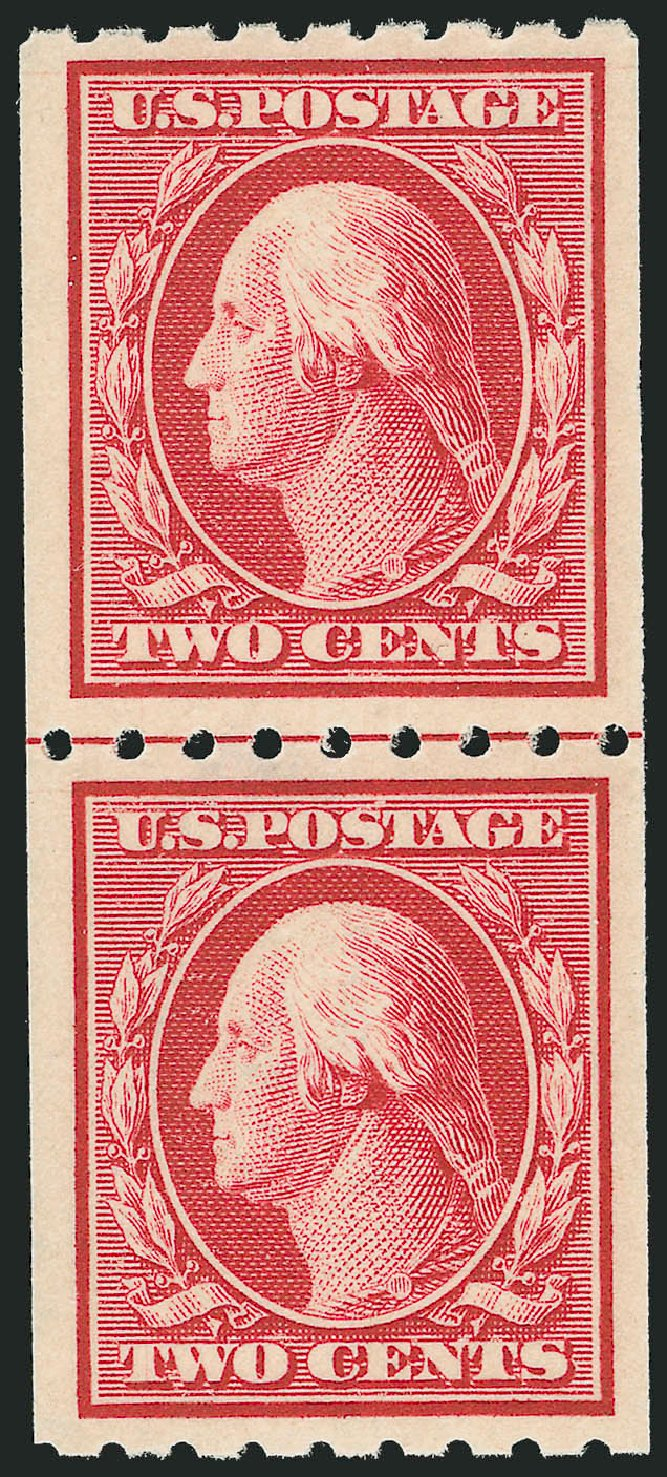 Price of US Stamp Scott 391 - 1910 2c Washington Coil. Robert Siegel Auction Galleries, Dec 2013, Sale 1062, Lot 571