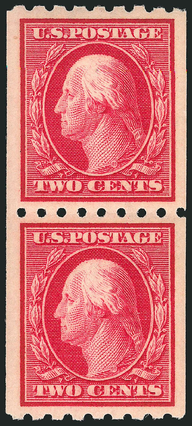 Value of US Stamps Scott Cat. # 391 - 1910 2c Washington Coil. Robert Siegel Auction Galleries, Apr 2015, Sale 1096, Lot 634