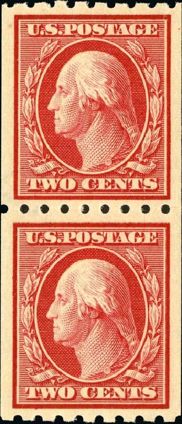 Prices of US Stamps Scott #391: 1910 2c Washington Coil. Spink Shreves Galleries, Jan 2015, Sale 150, Lot 155