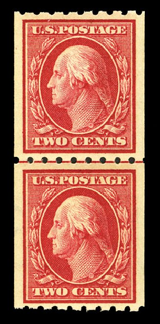 US Stamps Values Scott Cat. # 391 - 1910 2c Washington Coil. Cherrystone Auctions, Jul 2015, Sale 201507, Lot 2142