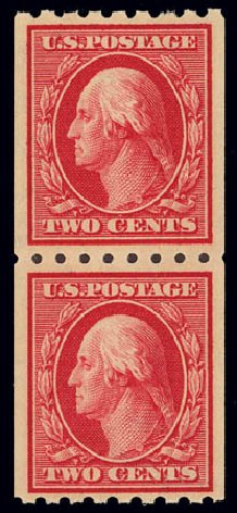 US Stamp Value Scott Cat. 391: 1910 2c Washington Coil. Daniel Kelleher Auctions, Feb 2013, Sale 634, Lot 252