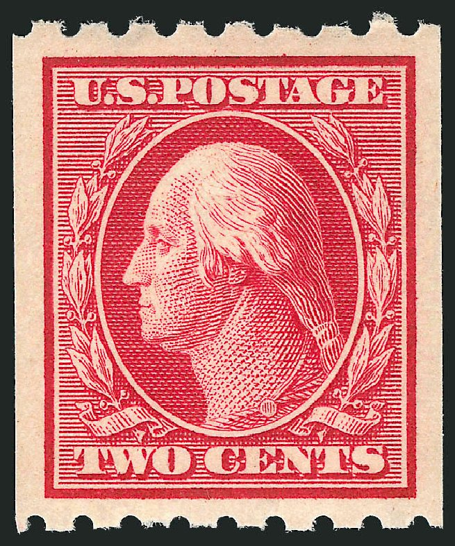 US Stamps Values Scott Catalog #391 - 1910 2c Washington Coil. Robert Siegel Auction Galleries, May 2013, Sale 1044, Lot 262