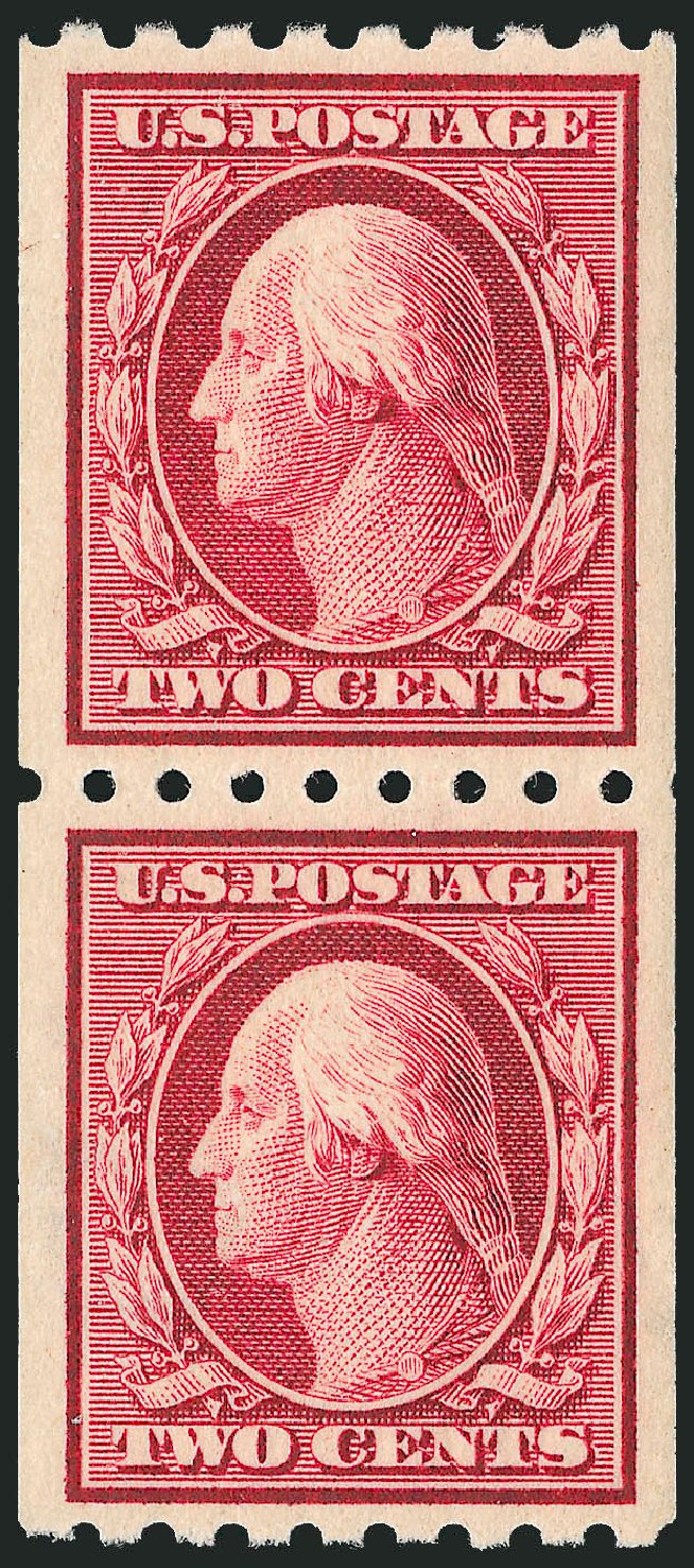 Values of US Stamps Scott #391 - 2c 1910 Washington Coil. Robert Siegel Auction Galleries, Dec 2013, Sale 1062, Lot 572