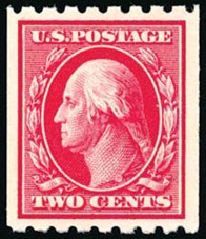 Value of US Stamp Scott Catalogue # 391 - 2c 1910 Washington Coil. Schuyler J. Rumsey Philatelic Auctions, Apr 2015, Sale 60, Lot 2363
