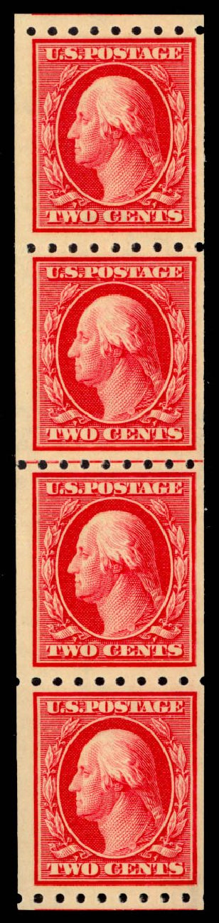 Values of US Stamps Scott Catalog #391 - 1910 2c Washington Coil. Daniel Kelleher Auctions, May 2014, Sale 652, Lot 576