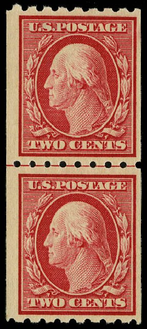 Prices of US Stamp Scott 391 - 1910 2c Washington Coil. Daniel Kelleher Auctions, May 2015, Sale 669, Lot 2946