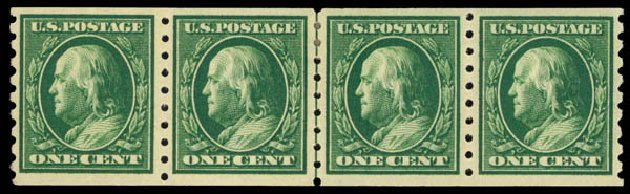 US Stamp Prices Scott Cat. # 392: 1910 1c Franklin Coil. Daniel Kelleher Auctions, May 2014, Sale 652, Lot 587