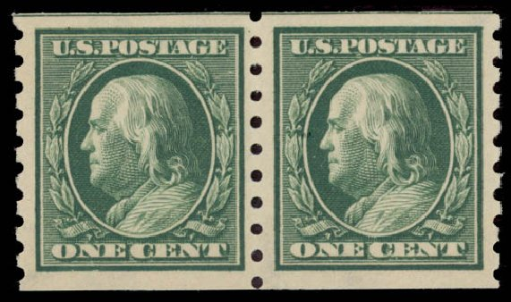 Value of US Stamps Scott #392 - 1c 1910 Franklin Coil. Daniel Kelleher Auctions, May 2015, Sale 669, Lot 2947
