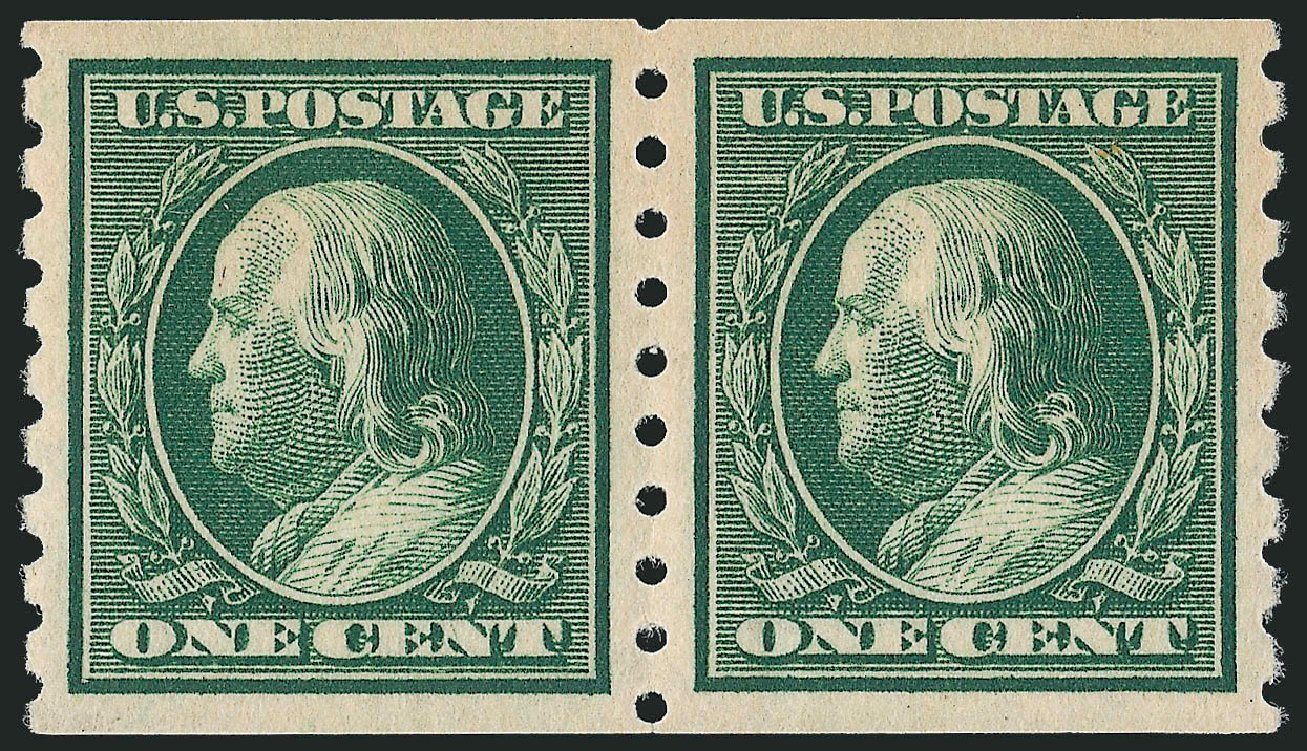 Price of US Stamp Scott # 392 - 1c 1910 Franklin Coil. Robert Siegel Auction Galleries, Oct 2011, Sale 1013, Lot 397