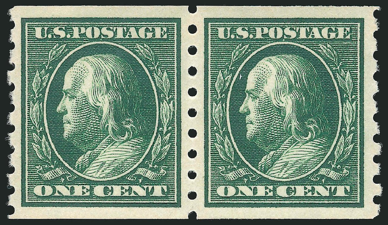 Cost of US Stamps Scott Cat. 392 - 1910 1c Franklin Coil. Robert Siegel Auction Galleries, Feb 2015, Sale 1092, Lot 1297