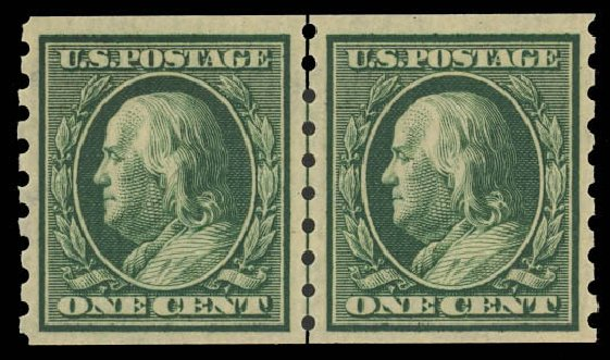 US Stamp Values Scott Catalogue 392 - 1c 1910 Franklin Coil. Daniel Kelleher Auctions, Jun 2012, Sale 630, Lot 1809