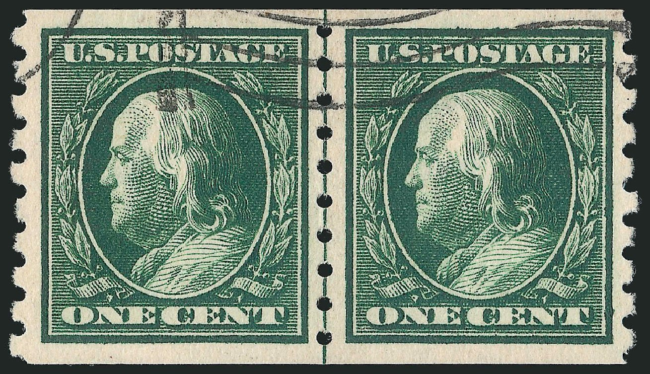 Prices of US Stamp Scott 392 - 1910 1c Franklin Coil. Robert Siegel Auction Galleries, Feb 2015, Sale 1093, Lot 220