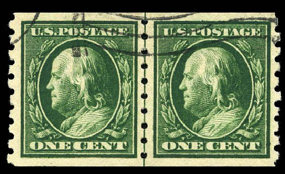 US Stamp Values Scott Catalogue #392 - 1910 1c Franklin Coil. Matthew Bennett International, Sep 2011, Sale 338, Lot 1931