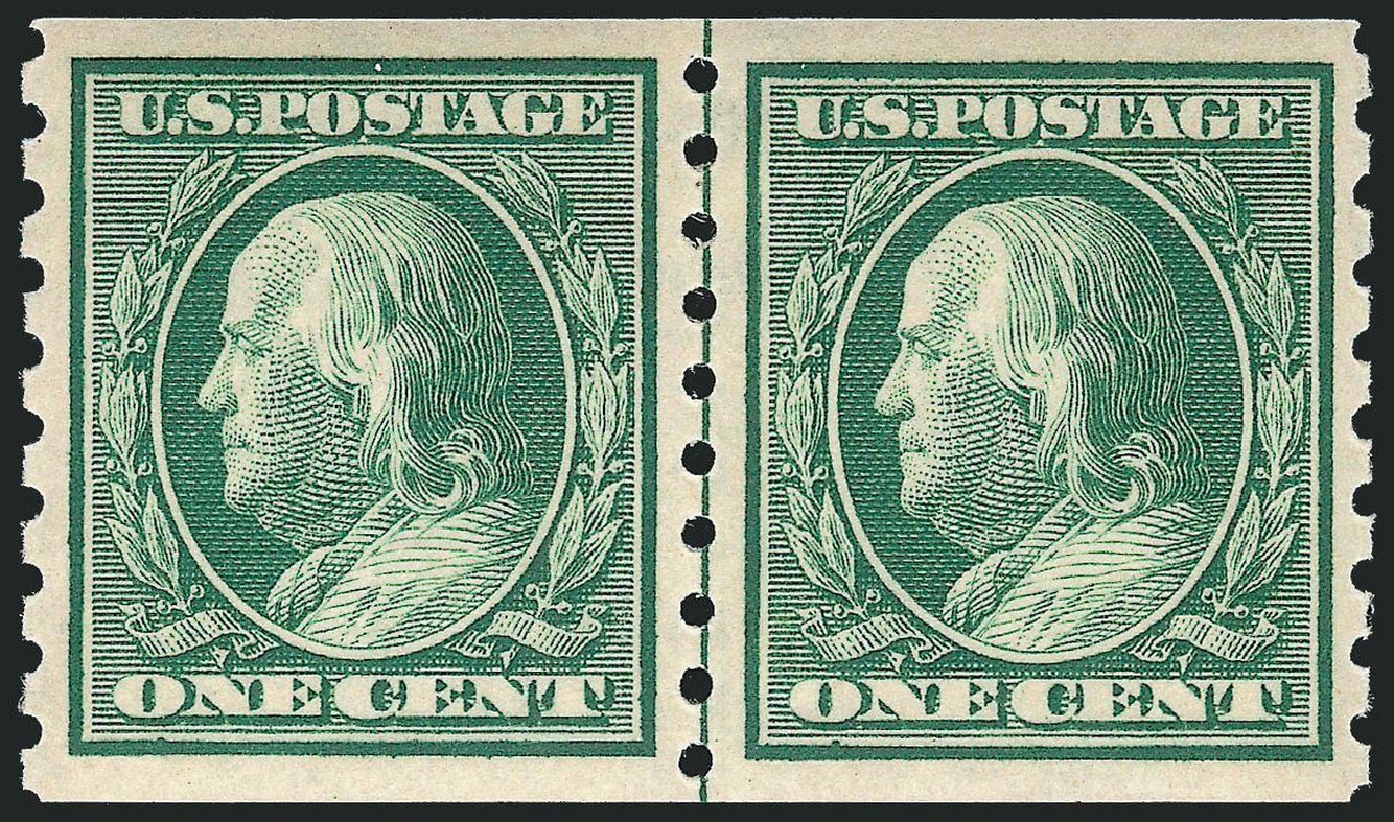 Price of US Stamp Scott Catalog # 392: 1910 1c Franklin Coil. Robert Siegel Auction Galleries, Mar 2013, Sale 1040, Lot 1761
