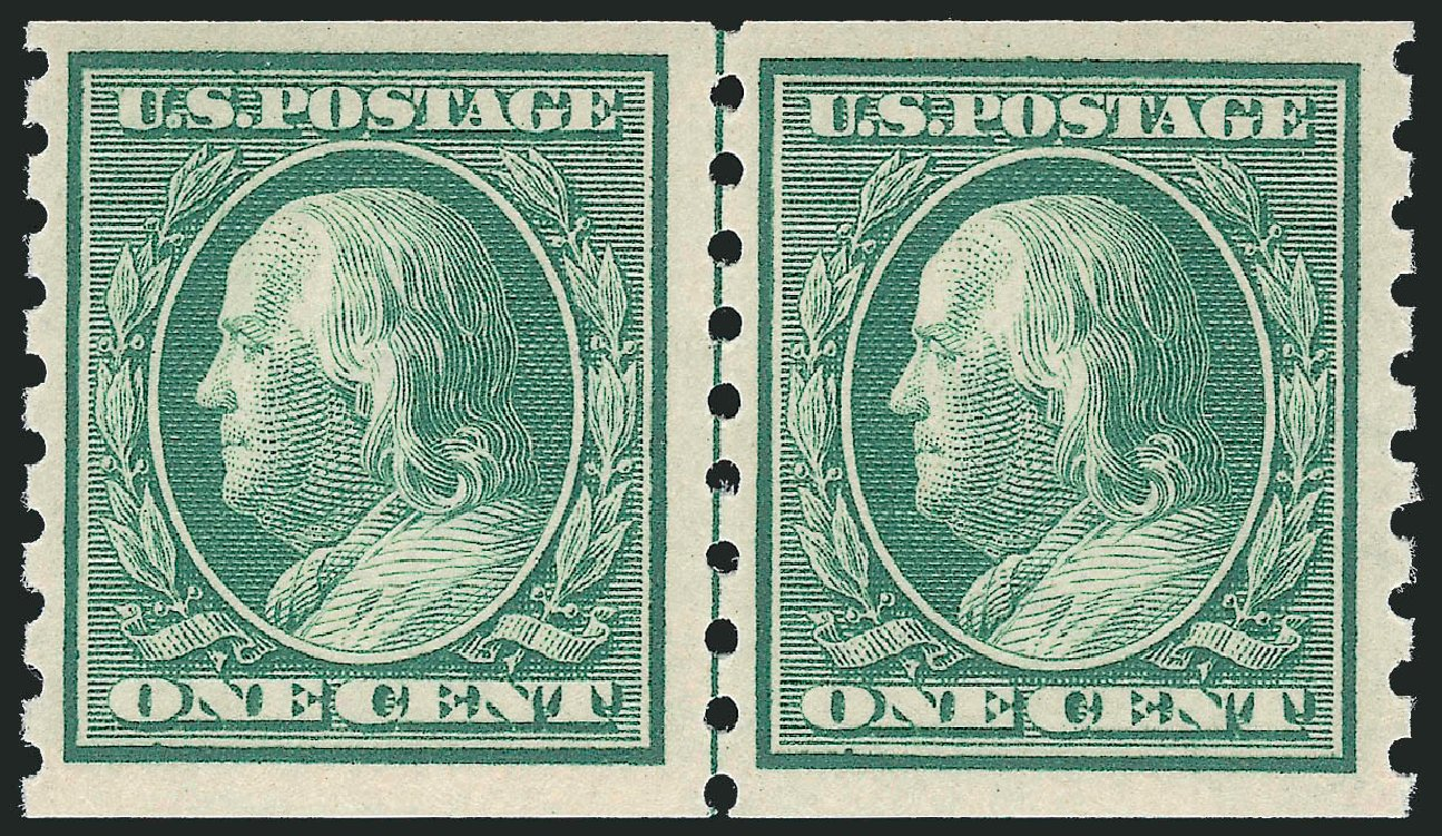Prices of US Stamp Scott # 392: 1910 1c Franklin Coil. Robert Siegel Auction Galleries, Oct 2011, Sale 1014, Lot 1844